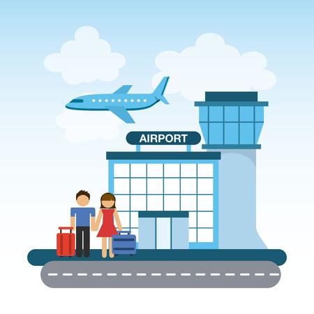 공항 터미널 디자인, 벡터 그림 eps10 그래픽 일러스트