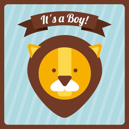 leon bebe: beb� ducha dise�o, ilustraci�n vectorial gr�fico