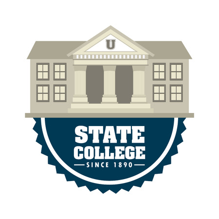 university building: state college design, vector illustration graphic