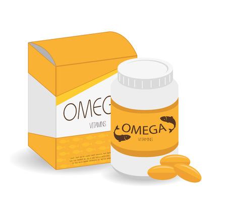 オメガ 3 設計ベクトル イラスト白背景。  イラスト・ベクター素材