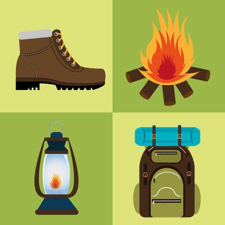 mine lamp: Camping design over green background, vector illustration. Illustration