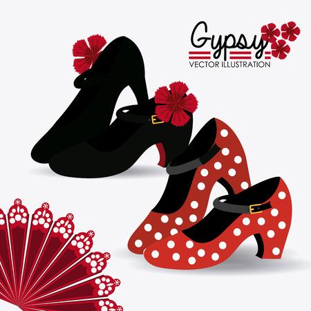 Gipsy design over white background, vector illustration. Çizim