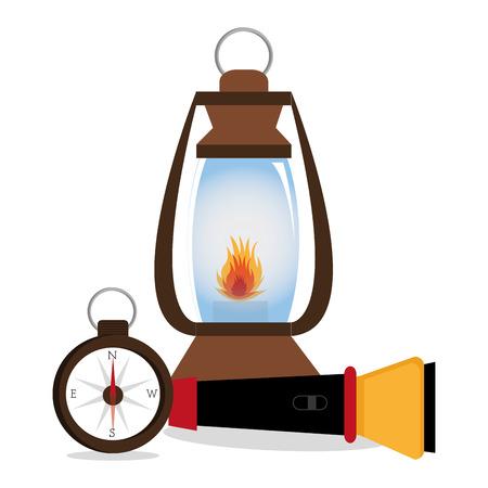 mine lamp: Camping design over white background, vector illustration. Illustration