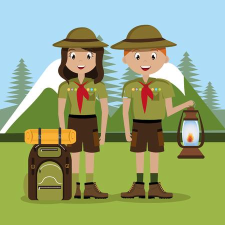 mine lamp: Camping design over landscape background, vector illustration.