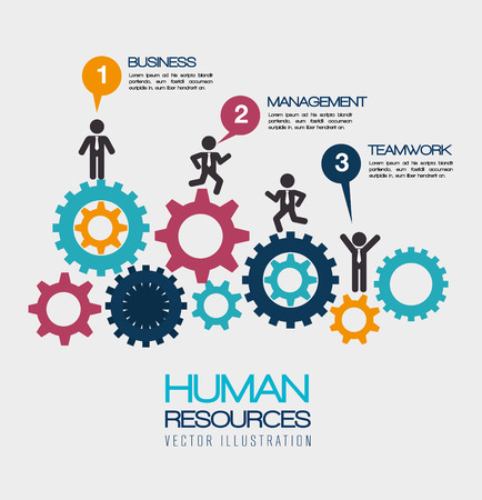 Human resources over white background, vector illustration.