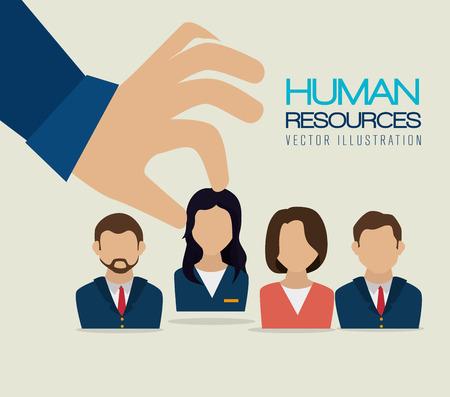 Human resources over beige background, vector illustration.