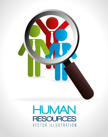 sociology: Human resources over white background, vector illustration.