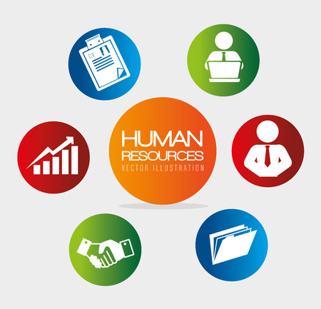 human relations: Human resources over white background, vector illustration.