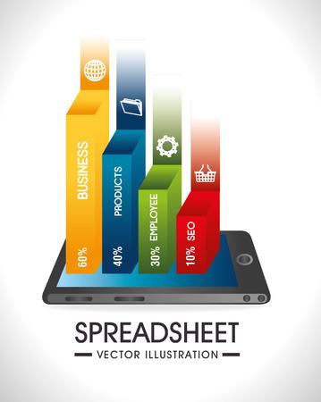 spreadsheet: Spreadsheet design over white background, vector illustration. Illustration