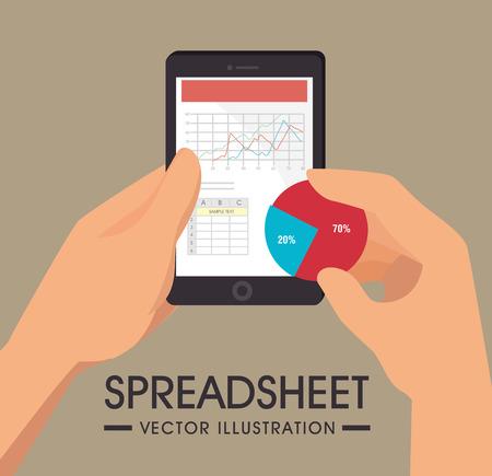 spreadsheet: Spreadsheet design over brown background, vector illustration.