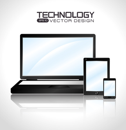 consumer society: Technology design over white background, vector illustration.