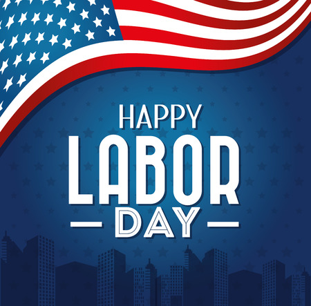 Labor day card design, vector illustration. 向量圖像