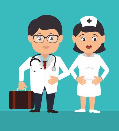 doctor dibujo animado: Diseño médico sobre fondo azul, ilustración vectorial.