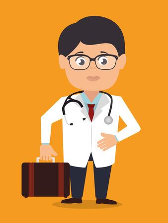 Diseño médico sobre fondo naranja, ilustración vectorial.