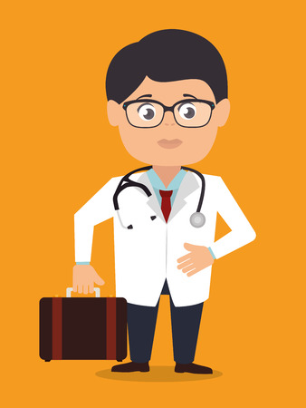 Medical design over orange background, vector illustration. Illustration