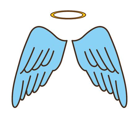 wings angel: carino disegno angelo, illustrazione grafica vettoriale eps10