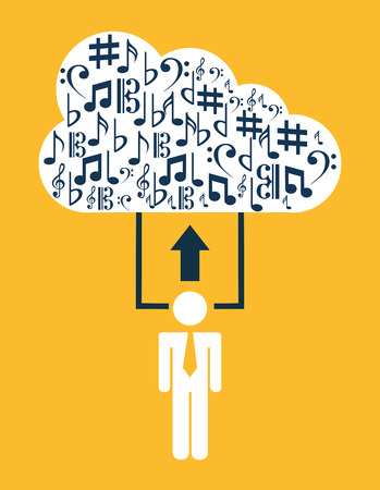 music cloud design, vector illustration eps10 graphic Vector