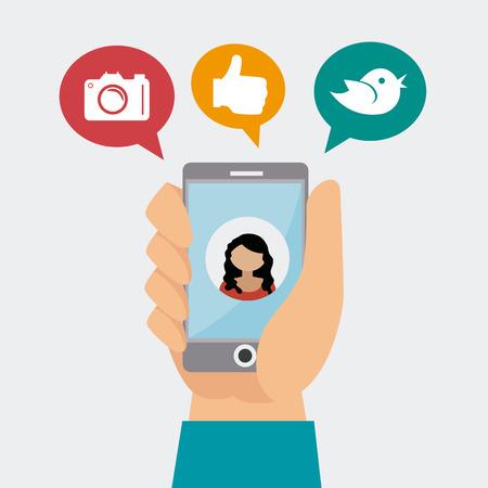 socializando: Dise�o de medios de comunicaci�n social, la ilustraci�n vectorial.