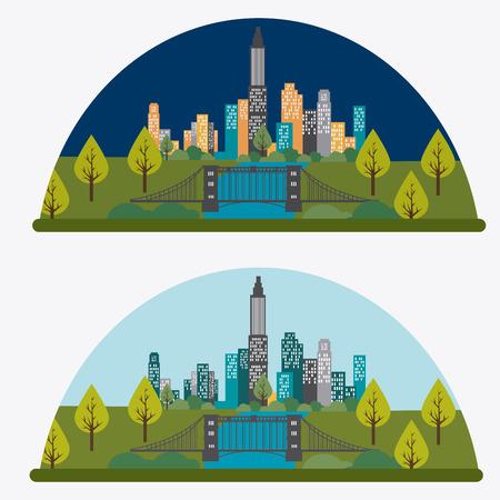 land development: City design over white background, vector illustration.