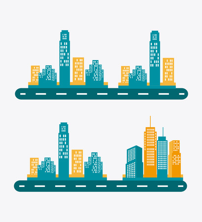 land development: City design over white background, vector illustration.