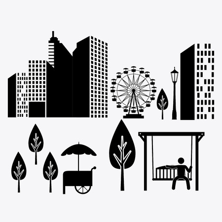 urbanization: City design over white background, vector illustration.