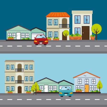 land development: City design over blue background, vector illustration. Illustration