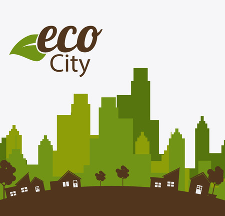 green life: City design over white background, vector illustration.