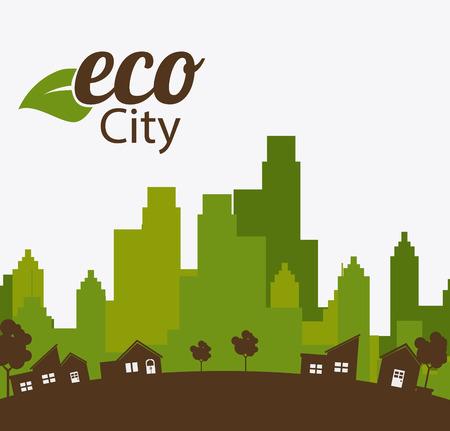green environment: City design over white background, vector illustration.