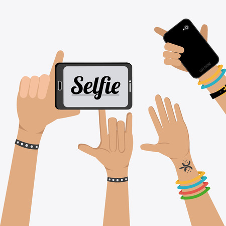 白い背景に、ベクトル図 Selfie 設計。
