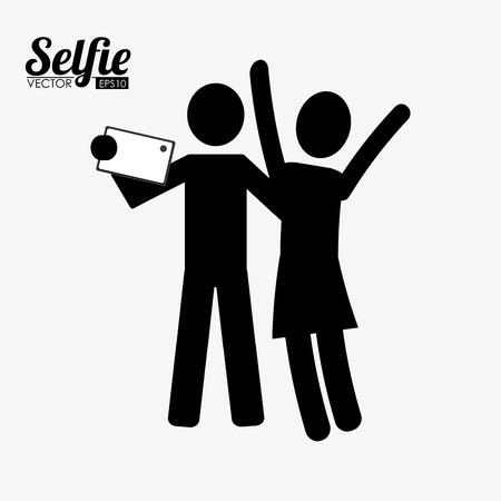 Selfie design over white background, vector illustration. Vector