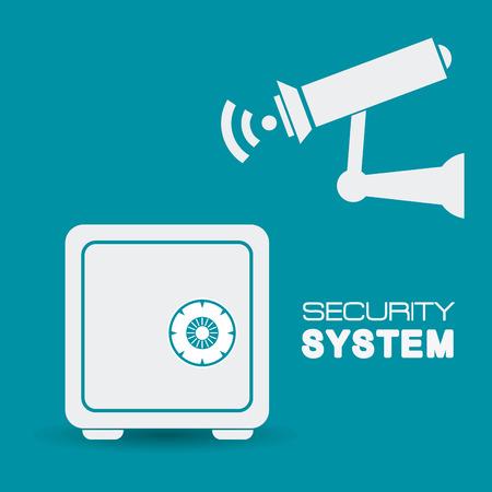 strongbox: Security system design over blue background, vector illustration.