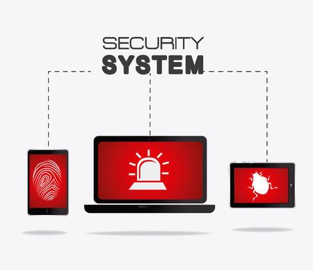 digital security: Security system design over white background, vector illustration. Illustration