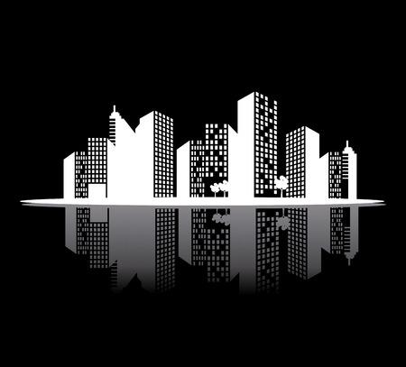 land development: City design over black background, vector illustration.