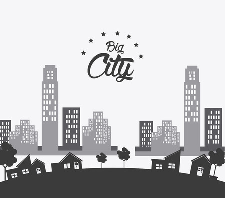 urbanization: City design over white background, vector illustration.