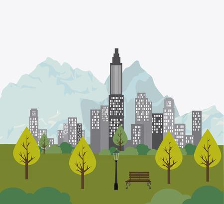 land development: City design over landscape background, vector illustration. Illustration