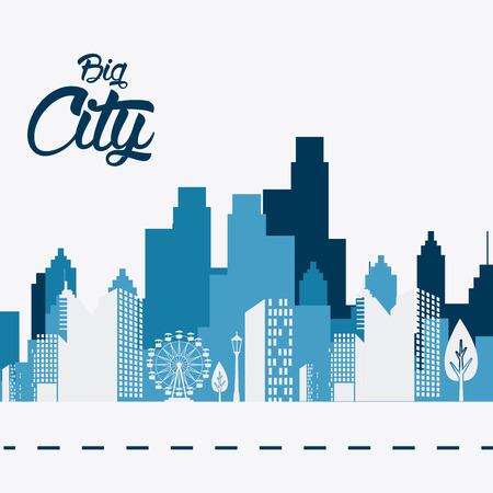 City design over white background, vector illustration.