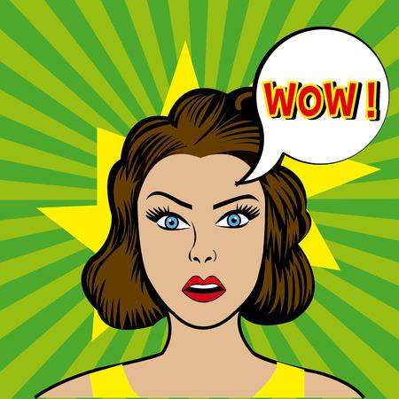femenine: Comic pop art colorful design, vector illustration.