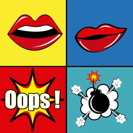 Comic pop art colorful design, vector illustration. Vector