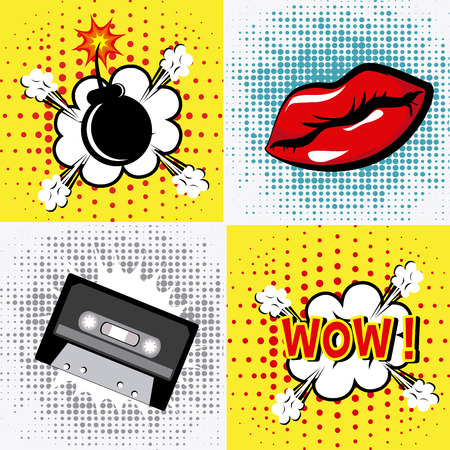 Comic pop art colorful design, vector illustration. Vector