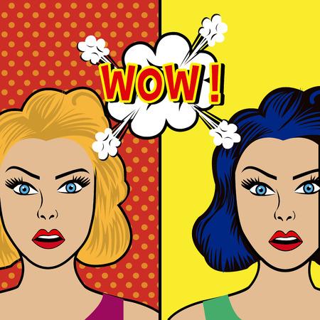 Comic Pop Art farbenfrohes Design, Vektor-Illustration.
