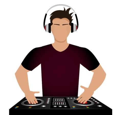 party dj: DJ del diseño sobre el fondo blanco, ilustración vectorial. Vectores