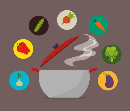 fond brun: Food design sur fond brun, illustration vectorielle. Illustration