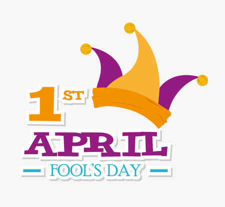 April fools day card design, vector illustration. Çizim