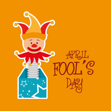 idiot box: April fools day card design, vector illustration. Illustration