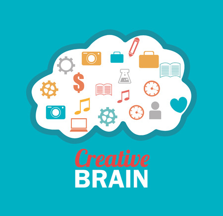 brain illustration: Brain design over blue background, vector illustration.
