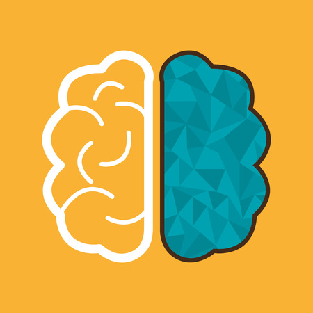 two minds: Brain design over yellow background, vector illustration.