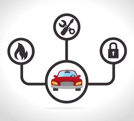 security lights: Car design over white background, vector illustration.