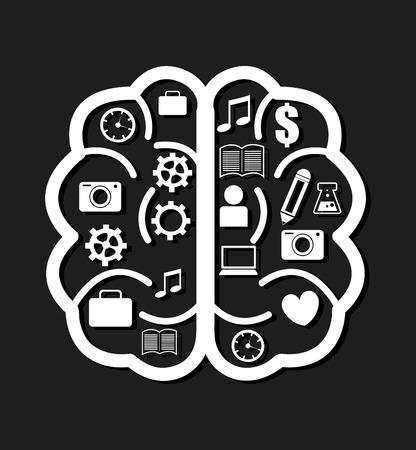 brain illustration: Brain design over black background, vector illustration.