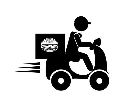 delivery driver: delivery food design. Illustration