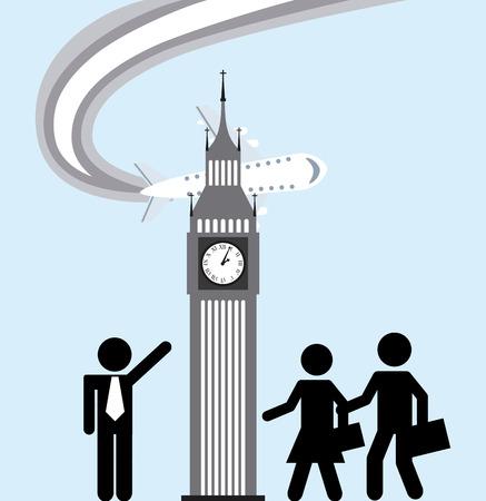 travelling salesman: travel concept design. Illustration